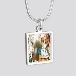 Alice In Wonderland  Silver Square Necklace