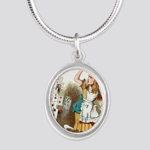 Alice In Wonderland  Silver Oval Necklace