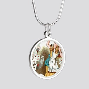 Alice In Wonderland  Silver Round Necklace