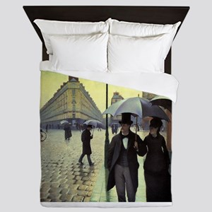 Paris Street, Rainy Day by Gustave Cai Queen Duvet