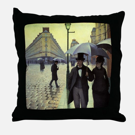 Paris Street, Rainy Day by Gustave Ca Throw Pillow