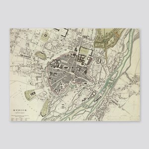 Vintage Map of Munich Germany (1832 5'x7'Area Rug