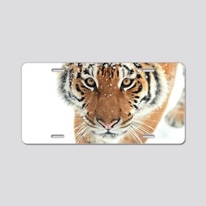 Snow Tiger Aluminum License Plate