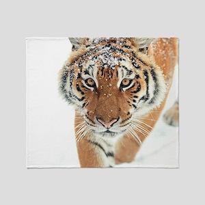 Snow Tiger Throw Blanket