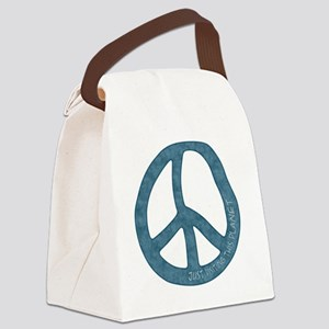 Just Visiting Peace Sign Canvas Lunch Bag