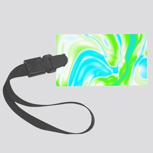 neon turquoise green swirls Large Luggage Tag