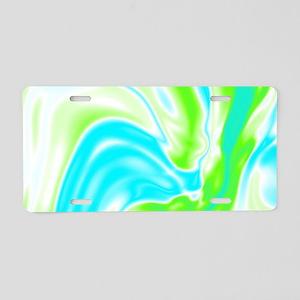 neon turquoise green swirls Aluminum License Plate