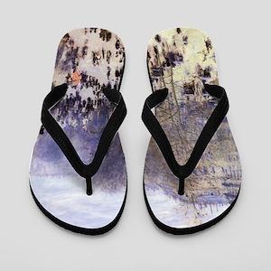 Boulevard des Capucines by Claude Monet Flip Flops