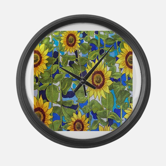 Country Sunflowers Large Wall Clock