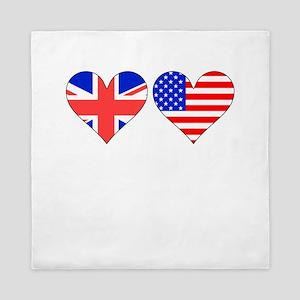 British American Hearts Queen Duvet
