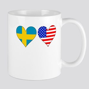 Swedish American Hearts Mugs