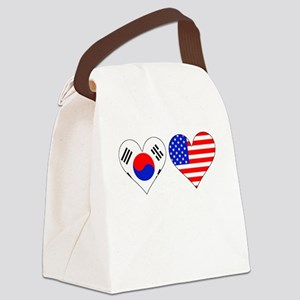 Korean American Hearts Canvas Lunch Bag