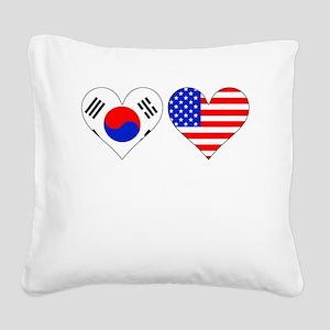 Korean American Hearts Square Canvas Pillow