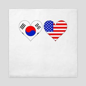 Korean American Hearts Queen Duvet