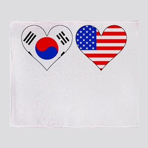 Korean American Hearts Throw Blanket