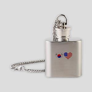 Korean American Hearts Flask Necklace