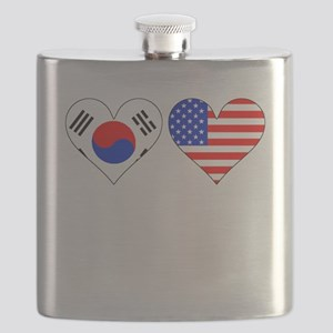 Korean American Hearts Flask