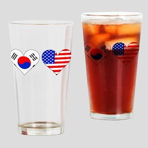 Korean American Hearts Drinking Glass