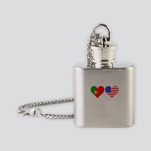 Portuguese American Hearts Flask Necklace
