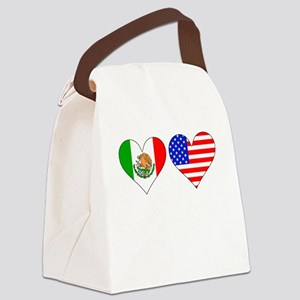 Mexican American Hearts Canvas Lunch Bag