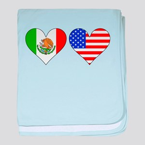 Mexican American Hearts baby blanket