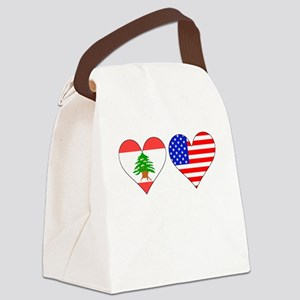 Lebanese American Hearts Canvas Lunch Bag