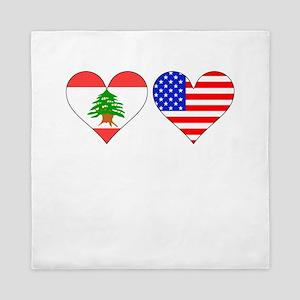 Lebanese American Hearts Queen Duvet