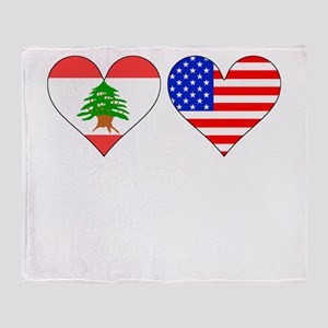 Lebanese American Hearts Throw Blanket