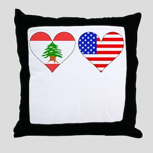 Lebanese American Hearts Throw Pillow