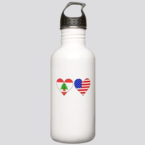 Lebanese American Hearts Water Bottle