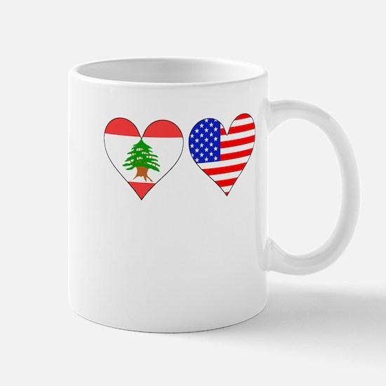 Lebanese American Hearts Mugs