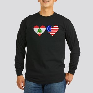 Lebanese American Hearts Long Sleeve T-Shirt