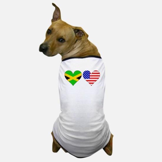 Jamaican American Hearts Dog T-Shirt