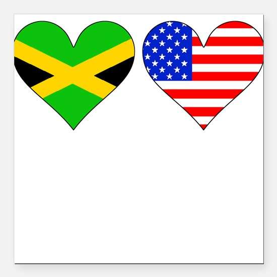 """Jamaican American Hearts Square Car Magnet 3"""" x 3"""""""