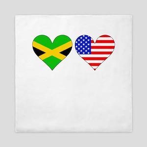 Jamaican American Hearts Queen Duvet