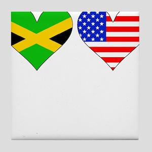 Jamaican American Hearts Tile Coaster