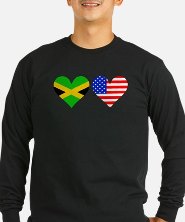 Jamaican American Hearts Long Sleeve T-Shirt