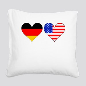 German American Hearts Square Canvas Pillow