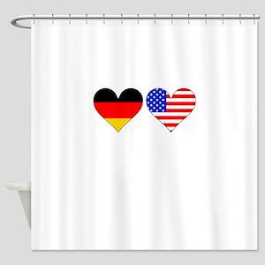 German American Hearts Shower Curtain
