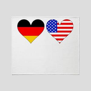 German American Hearts Throw Blanket