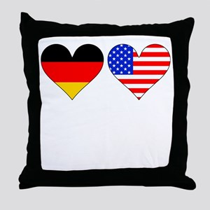 German American Hearts Throw Pillow