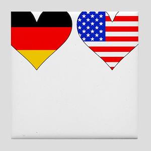 German American Hearts Tile Coaster
