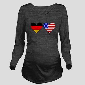 German American Hearts Long Sleeve Maternity T-Shi