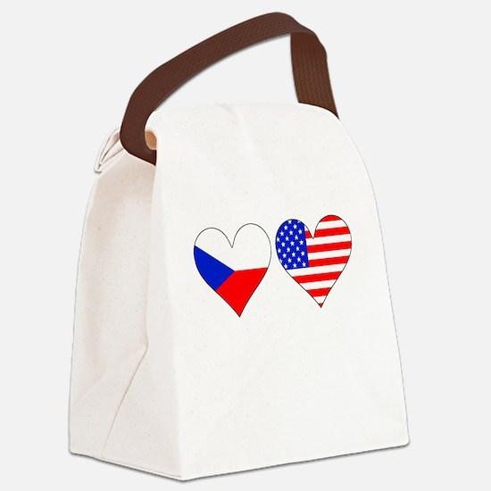 Czech American Hearts Canvas Lunch Bag