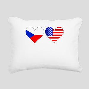 Czech American Hearts Rectangular Canvas Pillow