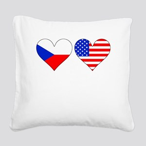 Czech American Hearts Square Canvas Pillow