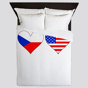Czech American Hearts Queen Duvet