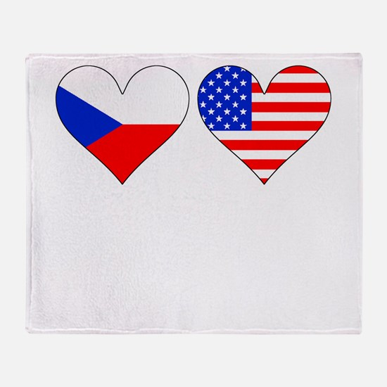 Czech American Hearts Throw Blanket