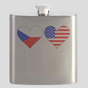 Czech American Hearts Flask