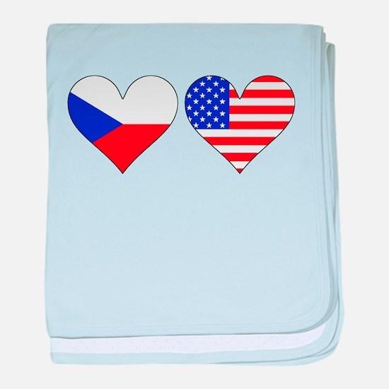 Czech American Hearts baby blanket